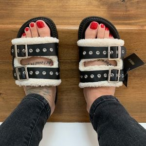 NWT Sherpa Riveted Buckle Punk Edgy Sandals/Slides